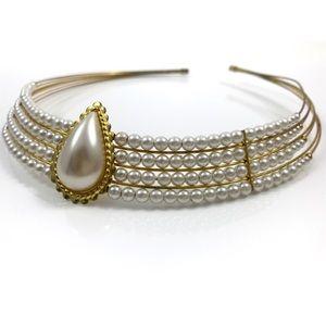Vintage pearl link choker / headdress